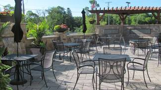 Patio seating with plants